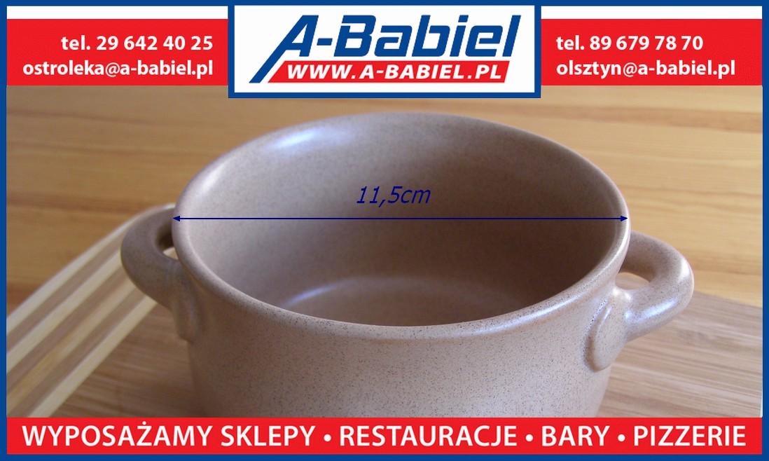 A-Babiel - Bulionówka, flaczarka 0,4L kamionkowa z uszami - Olsztyn, Ostrołęka, Katowice, Bydgoszcz, Warszawa, Gdańsk, Wrocław, Poznań, Łódź