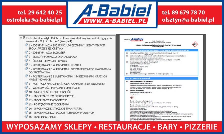 A-Babiel - Karta charakterystyki Płyn do zmywarek gastronomicznych Hard Alc - Olsztyn, Ostrołęka, Katowice, Bydgoszcz, Warszawa, Gdańsk, Wrocław